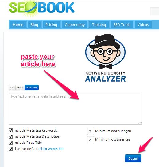 SEO Book Keyword Density Tool
