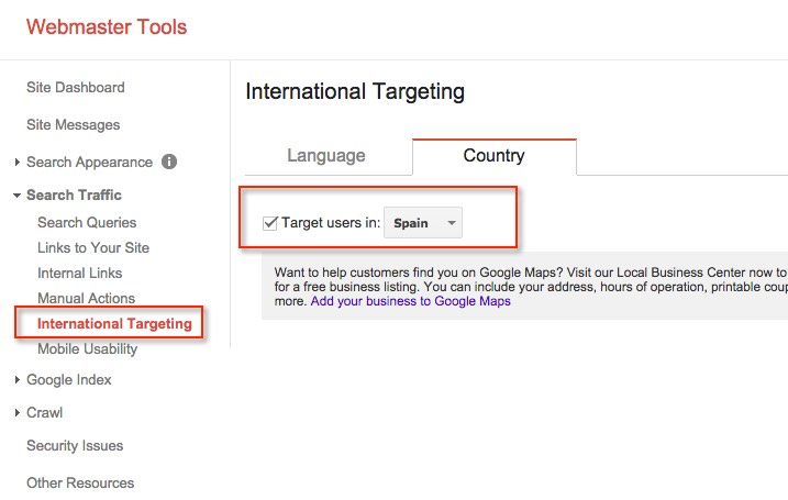 Webmaster Tools Geo Location Feature
